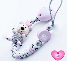 Schnullerkette mit Namen★ XL Teddy ★ Krone ★ Baby Mädchen ♥ silber rosa
