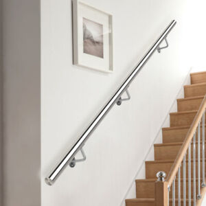 Brushed Stainless Steel Metal Banister Stair Handrail Pre-Assembled Round Rail