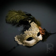 Venetian Brocade Lace Mardi Gras Masquerade Ball Mask with Feathers [Ivory]