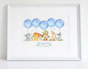 Animal Jungle Personalised Balloon Name Birth Nursery Print ChristeningUNFRAMED
