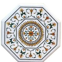 """24"""" White Marble Octagon Coffee Table Top Jasper Stone Marquetry Inlay Art Decor"""