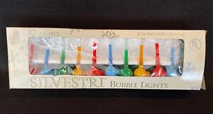 Vintage Silvestri String of 10 Mini Christmas Bubble Lights Multi Color WORKS!