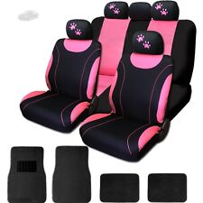 New Front & Rear Black & Pink Polyester Seat Covers Mats Paws Set For Audi