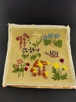 Vintage Embroidered Wall Hanging Mushrooms Flowers Snail Lady Bug 70's Completed