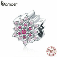 BAMOER Solid 925 Sterling Silver Charm Bead lotus & red CZ fit Bracelet Jewelry