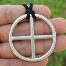 Antique Silver Earth Celtic Nordic Sun solar cross pewter pendant w suede rope