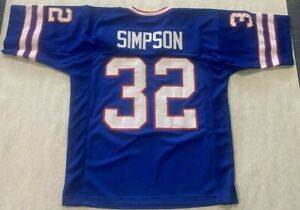 UNSIGNED CUSTOM Sewn Stitched  HALL OF FAME OJ SIMPSON Blue Jersey - XL