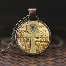 symbole de force égyptien scarabée verre dôme pendentif collier ancien oeil d'ho