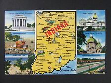 Indiana IN Multi-View Town Map Attractions Auto Racing Farming Postcard 1950s