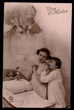 Santa Claus Vintage original photo postcard 1920s christmas donkey pray child