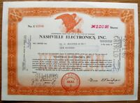 USA 1967  CERTIFICATE FOR 100 SHARES IN THE  NASHVILLE ELECTRONICS  OF TENNESSEE
