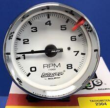 """Auto Meter Autogage 2304 Tachometer Tach 8000 RPM Chrome Pedestal Mount 3 3/4"""""""