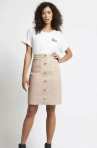 AJE Nude Colour Leather Button Pockets Front Skirt New Size 10 Sold Out!
