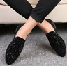 Men's  Hot Club Pointed Toe Flat   Rhinestone Casual Slip On Loafers party Shoes