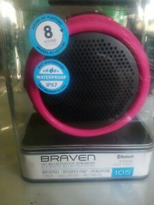 Braven 105 Waterproof Bluetooth Speaker w/ mounting stand Pink