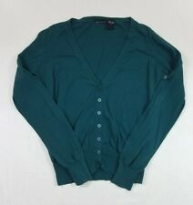 Moda International Womens Cardigan Sweater Long Sleeve Green Button Cotton Small