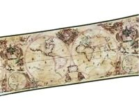 3 Rolls OLD WORLD NAUTICAL MAPS Charts WALLPAPER BORDER Vinyl Craft Wallcovering