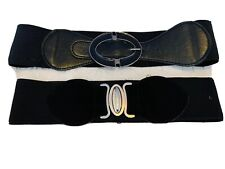 2 X 50's Style Black Elastic Belts-waspies- With Buckles.  Vgc.
