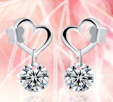 925 Silver Plt Butterflies on Hearts & Crystal Drop Dangle Earrings Ladies Gift