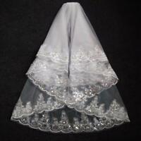 Short Lace Edge Bridal Veil White Ivory Two Layer Tulle Wedding Veils With Comb