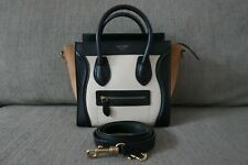 Sale! EUC Authentic Celine Nano Luggage Bag Tricolor Black White Beige Gold HW