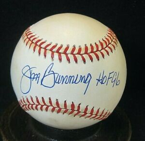 """Jim Bunning #2 Signed ONL Baseball JSA Certified w/""""HOF '96"""" Tigers, d.2017"""