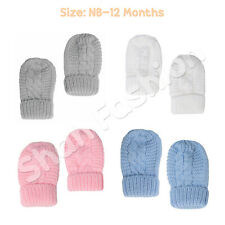 Baby Boys Girls Plain Striped Knit With Turnover Mittens NB-12 Months BM08