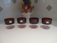 4 RUBY RED Bowl LUMINARC Clear Stem SHERBERT DESSERT DISHES FRANCE