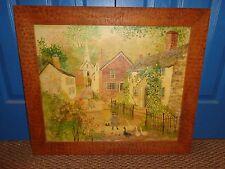 Jeanne Davies Original Folk Art Oil Painting on Canvas,Village, Listed Artist
