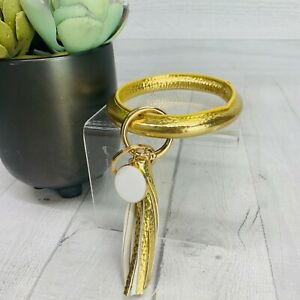 NEW! Metallic Gold Faux Leather Tassel Bangle Keychain Key Ring Accessories