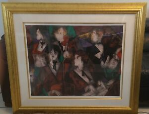 """Linda Le Kinff, """"Grand Orchestra"""" - Hand Signed! Heavy duty gold frame."""