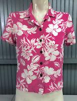 Caribbean Joe Petite Medium Rayon Womens Pink Floral Hawaiian Shirt