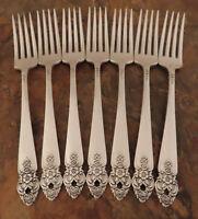 Oneida Distinction 7 Dinner Forks Prestige Vintage Silverplate Flatware Lot B