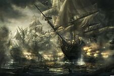 Framed Print - Pirate Ships Battling on the High Seas (Picture Poster Art Ocean)