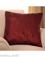 Quilted Filled Cushion Primrose Red Wine Berry Floral Decorative ZIPPED Scatter