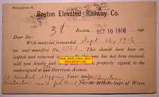BOSTON ELEVATED RAILWAY & CHEATHAM ELECTRIC SWITCH CO. POST CARD - 1916