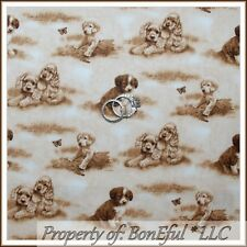 BonEful Fabric FQ Cotton Quilt Brown Tan Puppy Dog Toile Calico Butterfly Scenic