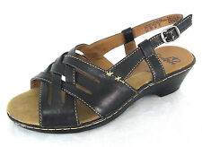 I Love Comfort Shoes Sz 8 M Womens Black Leather Slingbacks Wedge Heel Strappy