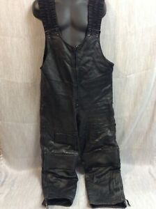 Vintage Leather Winter Snowmobile Pants Bibs XL Riders choice thinsulate racing