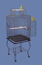 Large 20-Inches Open Play Top Parrot Bird Cage Removable Rolling Stand Cups 159