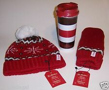 TIM HORTONS Coffee TOQUE + MITTENS + Travel TUMBLER Holiday Set ~ Hat + Mitts