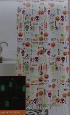 Halloween Boo Pumpkin Eek Skull Bones Glow in the Dark Peva Shower Curtain 70x70