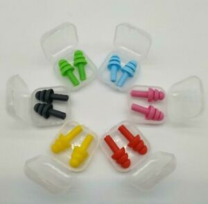 Soft Silicone Ear Plugs In Box Anti Noise Sleep Swimming Work Study Reusable UK