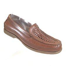 Nunn Bush Mens Loafers 7.5 Brown Woven Leather  Moc Toe Shoes (SB528)