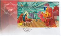 "2015 FDC. Australia. Christmas. M.S. Dove PictFDI ""MERRYLANDS"""