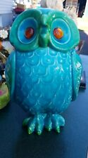 Vintage Italian Pottery Owl Bank Figurine  Italy beautiful blue mid century