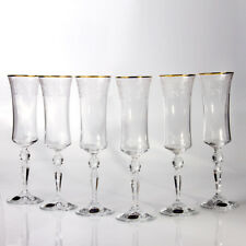 Bohemian Glass Champagne Flutes Set of 6 Authentic Czech Crystal Original