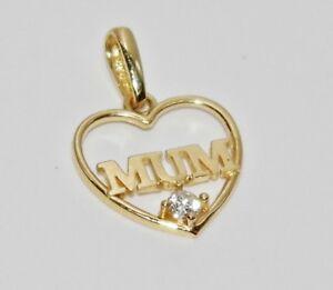 9ct Yellow Gold Diamond MUM Heart Shaped Pendant