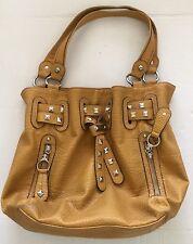 Kathy Van Zeeland Mustard Yellow Faux Leather Shoulder Bag Purse Handbag Shopper