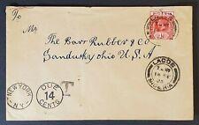 1923 Lacos Nigeria Sandusky Ohio USA Rubber Company Commercial Postage Due Cover